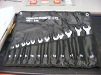 spanner set in tool roll 6mm to 22mm 12 chrome spanner set
