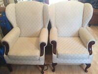 2x Laura Ashley Upholstered Wing Chairs