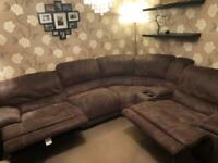 Harveys Faux Suede Dark Brown Double Reclining Corner Sofa With Media Unit