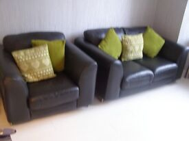 BLACK REIDS LEATHER TWO SEATER & CHAIR & FURNISHINGS