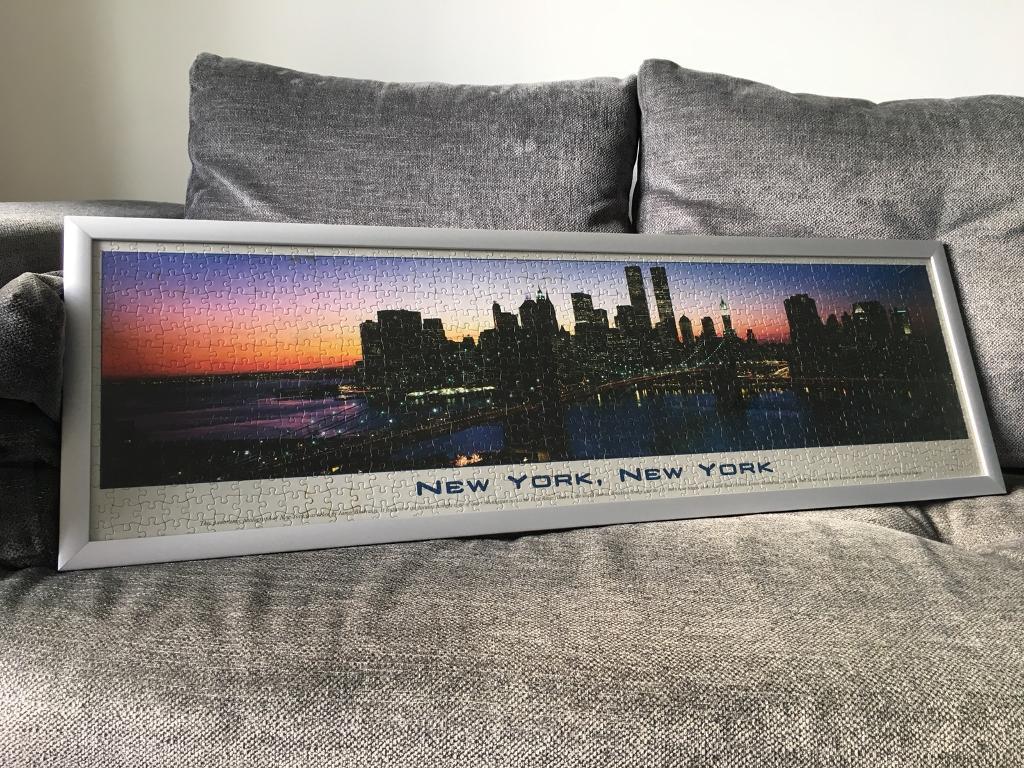 NYC skyline jigsaw puzzle in custom made frame.