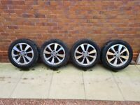 Set of four Hyundai i20 mk2 16 inch alloy wheels with tyres