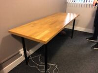Table with oak kitchen wooden top and legs