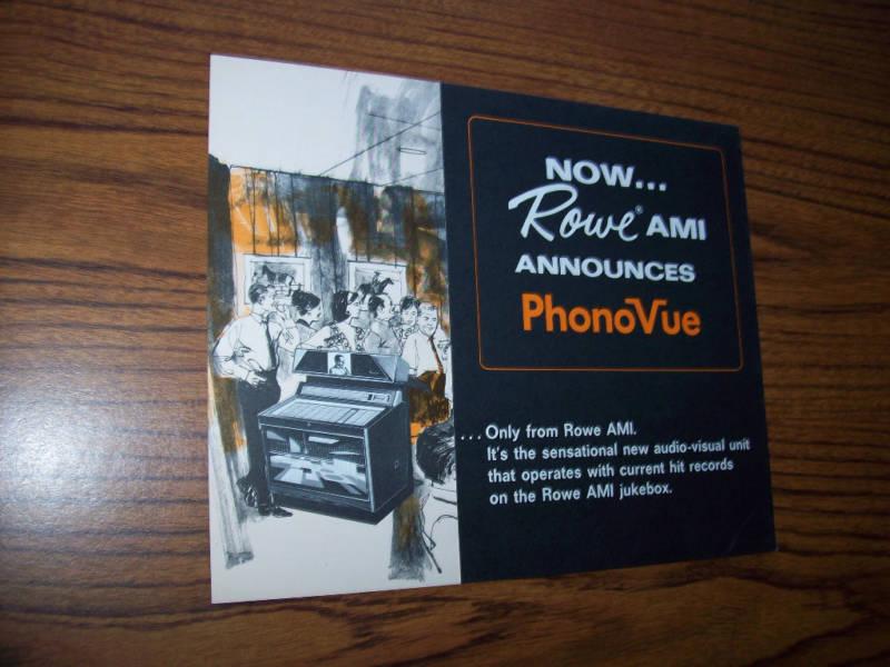 ROWE AMI PHONEVUE JUKEBOX SALES FLYER BROCHURE 1968