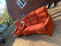 Suede, orange french sofa suite