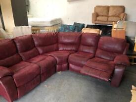 Harveys ex display suede corner sofa with reclining seat