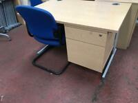 1200mm x 800mm Light Oak Veneer Straight Desk with Draw Pack