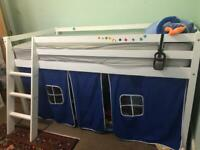 Midsleeper cabin bed with blue tent