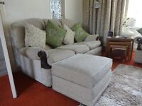 3 seater sofa and matching storage foot stool