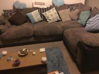 DFS brown fabric corner sofa