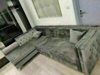 🔵💖🔴aesthetic design 🔵💖🔴Florence sofa-plush velvet left/right hand corner sofa-in grey color