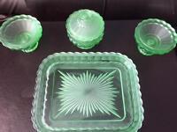 Vintage green glass dressing table set