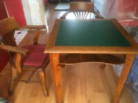 Antique Card/Game Table & Two Chairs
