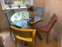 Glass wood dining table and 4 chairs