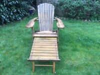 Adirondack chair, folding with extendable foot rest. Two available £60 each or two for £90.