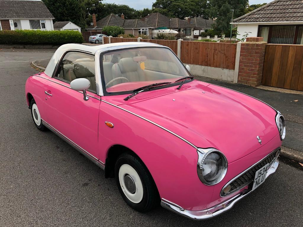 NISSAN FIGARO CONVERTIBLE REAR LITTLE CLASSIC AND VERY RARE IN PINK ONLY 67,000 MILES + NEW MOT