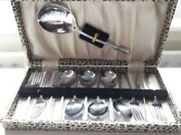 Lovely set of vintage chrome plated on nickel silver dessert cutlery