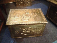 Lovely Vintage Embossed Ornate Brass Wood Box / Pine Lined Coal Scuttle / Brass Log Box