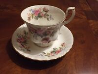 Royal Albert Moss Rose bone china cup and saucer £5 per set - 8 sets available