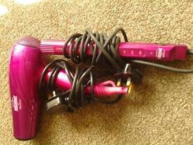 lee stafford hair dryer and straightners moroccon oil protection hot pink