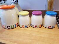 Colourful Tea, Coffee, Sugar & Biscuit Storage