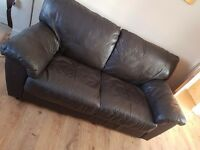 3 & 2 seater brown leather suite