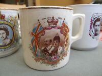 Coronation mugs and special 1902 QE2 Lady Di Queen
