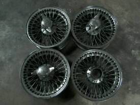 Jaguar e type 15 inch wire wheels with spinners