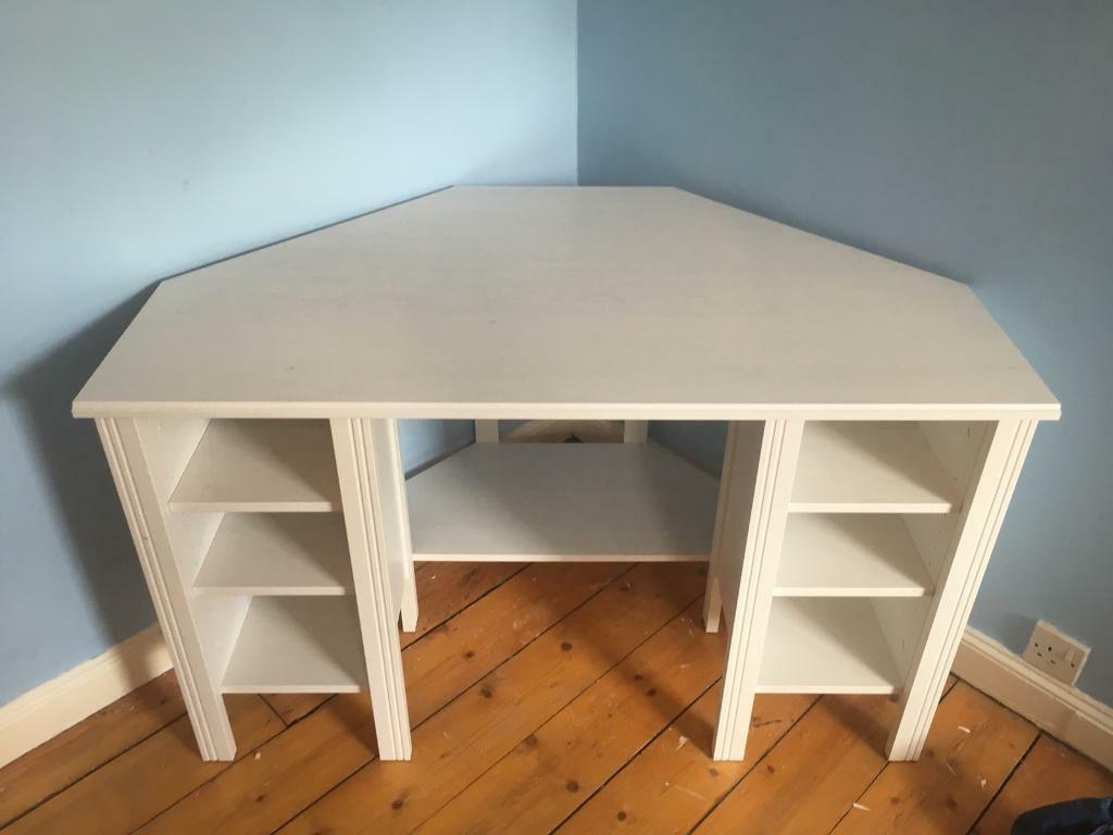 White Ikea Brusali Corner Desk