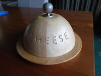 BRAND NEW CHEESE BOARD, WOODEN with DOMED LID