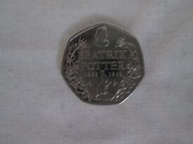 50p - 50 pence beatrix potter writting 2016 coin