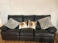 2 x 3 Seater Brown Reclining Sofas