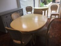 OKA oval extending dining table, 6 chairs and matching console table.