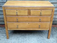 Antique solid oak chest of drawers, brass handles