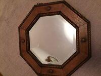 Antique 1930's hexagonal oak mirror