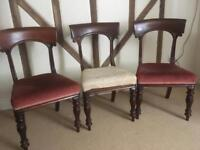 Three Victorian Dining Room Chairs