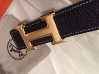 NEW in box ladies black hermes belt - real leather. stunning! great xmas present