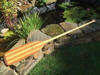 2x stunning hand made 'grey owl' wooden ore'scanoe paddles