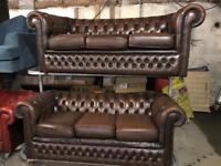 2 brown leather chesterfield 3 seater sofas