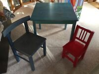 Children's table and two chairs