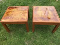 Vintage retro pair coffee side tables 70s / 80s tiled top