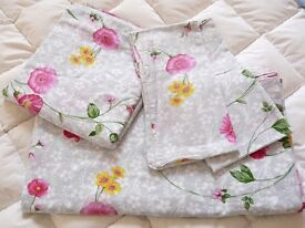 King size Grey pink floral cotton bed linen set