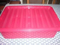 Wham Bright Pink 32 Litre Crystal Under-Bed Box with Lid, GOOD CONDITION, £3.50