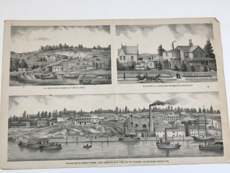19th Century Atlas Lithograph of Kingston, New York, c 1875