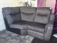 New Westbridge Electric Recliner Corner Chaise Sofa In Textured Weave Grey Fabric