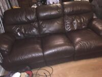 3 x 2 Seater brown leather sofas