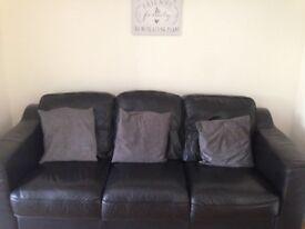 Black leather sofas (3 & 2 seater)