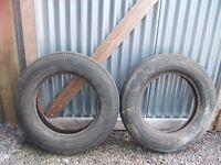 2 vintage car tyres