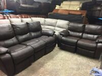 2 and 3 seater brown leather reclining sofa