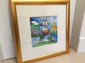 Original nursery rhyme painting framed - signed by artist ( not a print)